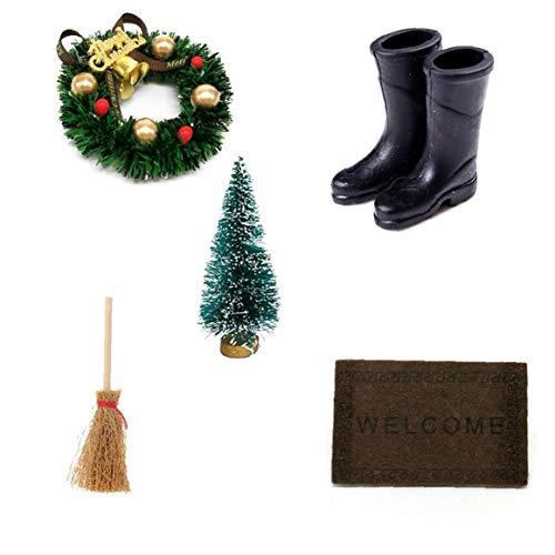 LAANCOO Mini Dekoration Kit, Fee Garten-Accessoires-Set, DIY Mini-Weihnachtskranz, 5 Stück von Hausdekoration für Puppenhaus