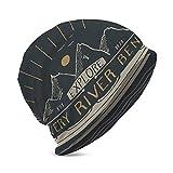DJNGN Bonnet en Tricot pour Hommes Adultes Knit Beanie Warm Knit Ski Skull Cap Beanie Cap Kayak Canoe Vintage Label Sketch