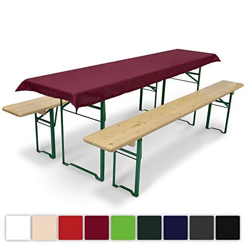 Beautissu Comfort XS Tischdecke für Bierzeltgarnitur - 70x240 cm Tischdecke für 50cm Tische - Dunkel-Rot & weitere Farben