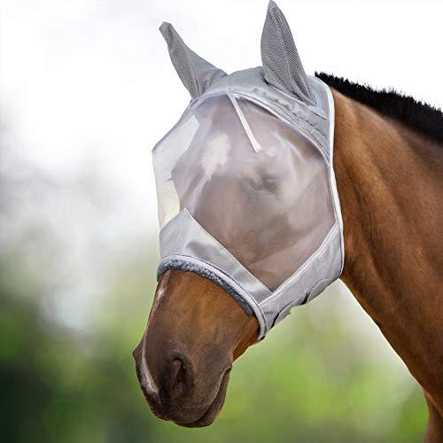 Harrison Howard CareMaster Fliegenmaske UV-Schutz mit Ohrenschutz Silber Vollblut (M)