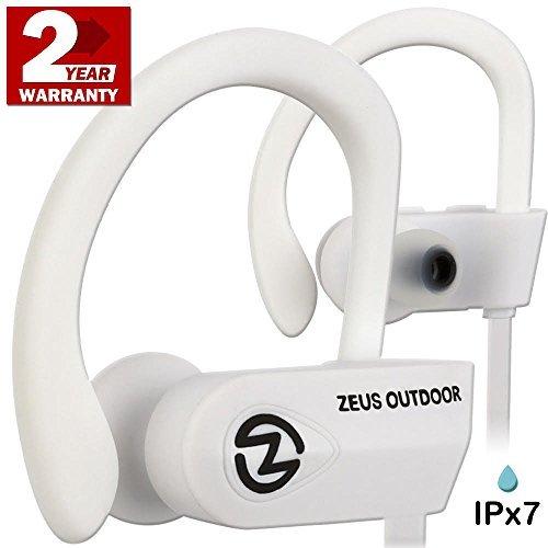 ZEUS Wireless Headphones Outdoor - Noise Isolating Wireless Earbuds - HD Stereo Waterproof Headphones IPX 7 Sweatproof Headphones with Mic - Running Headphones - Sport Headphones - Workout (White)