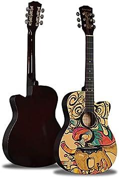 XYF Guitarra Electrica Guitarra Acústica Clásica, Guitarra Acústica Femenina Y Masculina, Guitarra para Adultos con Graffiti Pintado Personalizado para Niños (Color : A, Size : 38 Inches)