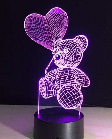 Creative Gift 3D LED Table Lamp Couple Love Balloon Heart Shape Night Light Decoration Color Change Luminaria Valentine's Day Decoration