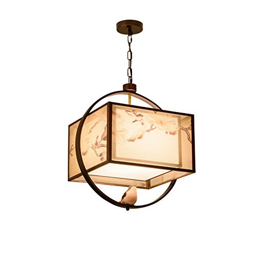 QNN Luces colgantes, lámpara de araña de hierro retro, lámpara de araña de dormitorio el estudio, lámpara de tela de impresión, lámpara de decoración de arte clásico, la...