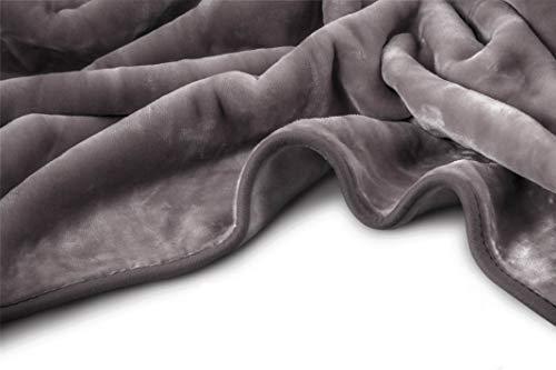 VIVALON Solid Color Ultra Silky Soft Heavy Duty Quality Korean Mink Reversible Blanket 9 lbs King Shark Grey