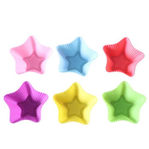 Marrmo 6 moldes de silicona para tartas, forma de estrella de cinco puntas, papel de alta calidad, fácil de despegar, a prueba de grasa, colores atractivos (estrella de cinco puntas)
