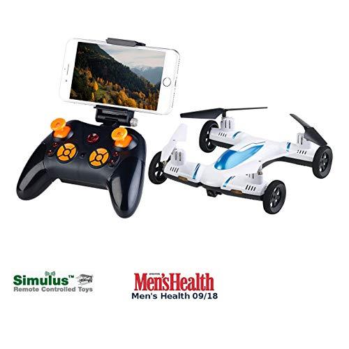 Simulus Ferngesteuertes Auto: 2in1-Quadrocopter & Auto m. HD-Kamera, 2,4-GHz-Fernsteuerung, WLAN (Mini Drone)
