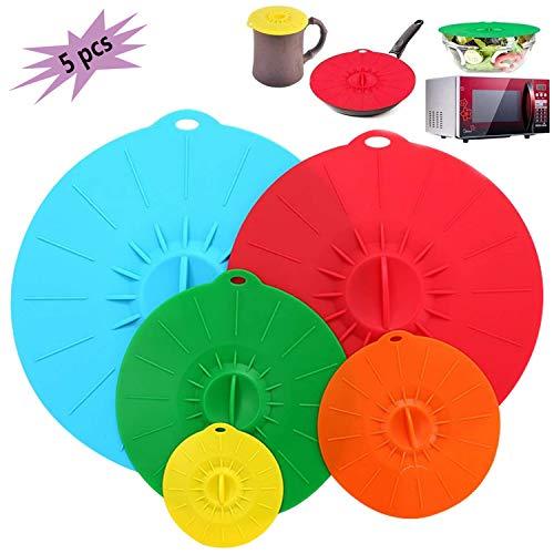 DERU® Deckel aus Silikon, 5er Frischhalte-Deckel in Verschiedenen Größen, Silikon Abdeckung - BPA Frei und Wiederverwendbar, Aufbewahrungsdeckel für Schüsseln, Becher, Dosen, Obst und Mikrowelle