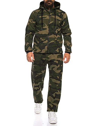 COOFANDY Men's Casual Tracksuit Long Sleeve Comfy Running Jogging Full Zip Athleti Sports Set Green Camo, Large