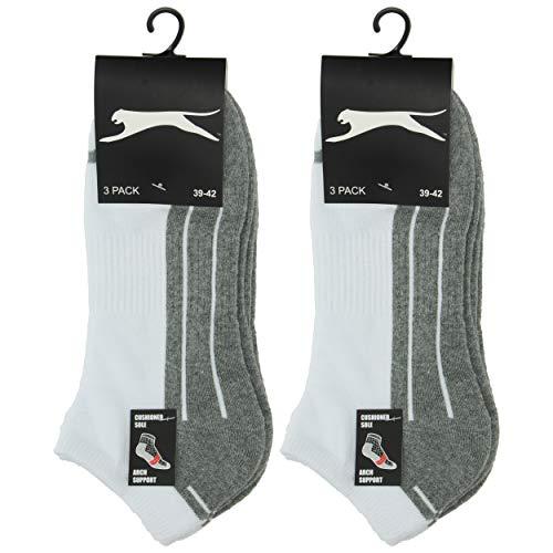 Slazenger 6 Paar Socken Bequeme Herrensneaker, Frottiereinlegesohle, ausgezeichnete Qualität gekämmter Baumwolle (Weiß, 39-42)