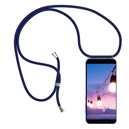 YuhooTech Handykette Handyhülle für LG K20 2019 Smartphone Necklace Hülle mit Band - Schutzhülle mit Kordel Umhängenband - Schnur mit Hülle zum umhängen in Blau