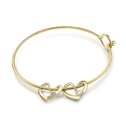 Jewelora Personalised Girl Bracelet 1/2/3/4/5 Names Heart Bracelet Jewellery Gift for Girl Kid Child Daughter Sisters Best Friends on Birthday Anniversary Christmas (Gold, Name 2)