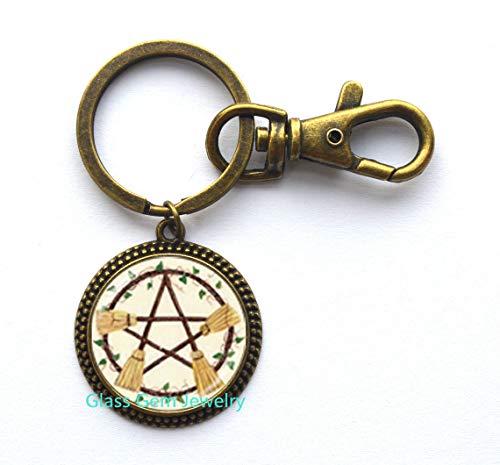 Wicca Besen Pentagramm Schlüsselanhänger Pentagramm Schlüsselanhänger Wicca Hexe Schmuck Glas Cabochon Silber Statement Lange Kette Schlüsselanhänger Q0223