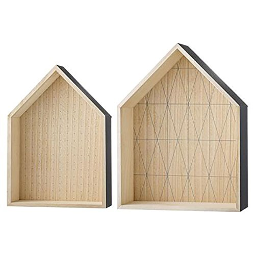 Bloomingville - Display Box, Regal Set - Haus - Holz - grau - Paulownia - L30xH42xW10/L37xH49xW14 cm - 2er Set