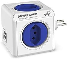 Multiplicador 4 Tomadas Bivolt + 2 USB 2.4A - PowerCube USB ELG - PWC-R4U, Azul e Branco