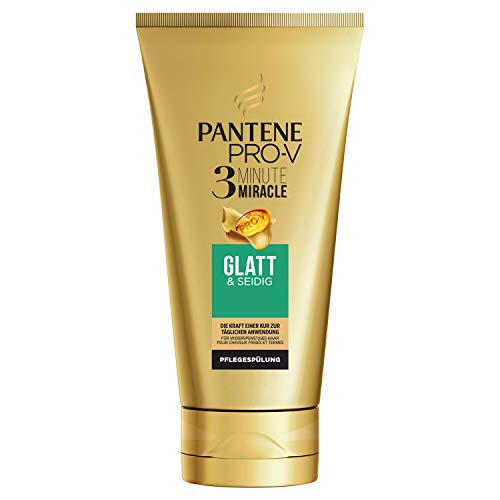 Pantene Pro-V Glatt & Seidig 3 Minute Miracle Pflegespülung für Widerspenstiges Haar, 150 ml, Conditioner, Haarpflege Glanz, Anti-Frizz Conditioner, Beauty, Gold