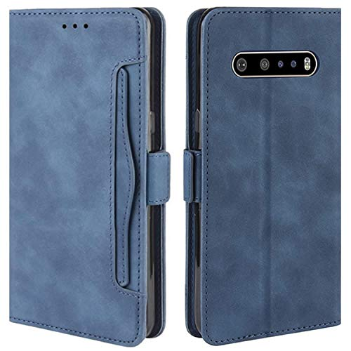 HualuBro Handyhülle für LG V60 ThinQ Hülle Leder, Flip Hülle Cover Stoßfest Klapphülle Handytasche Schutzhülle für LG V60 ThinQ 5G Tasche (Blau)