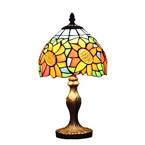 AIFUDE moderna minimalista Pastoral Girasol 8 pulgadas Tiffany Lámpara de mesa Vidriera lámpara de cabecera