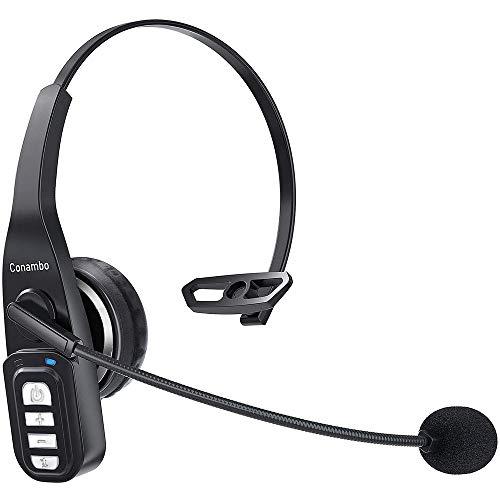 Bluetooth Headset 5.0 mit Mikrofon, PC Headset mit Rauschunterdrückung, Wireless Headset 22Hrs Freisprechen für PC/Laptop/Computer/Handy/LKW-Fahrer
