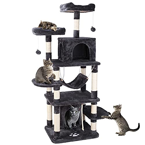 POTBY 67'Multi-Level CatTree, Pet Play House Climber Heavy Duty Activity Centre Large Size Tower Stand Furniture, w/Scratching Post, Hammock, Dangling Ball Condo, Anti-toppling Devices for Kitten…