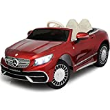 Ride On Toys - 12V Electric Car with Remote Control – Americas Toys Ride On Car for Kids with Open Doors, Leather Interior, MP4 Touch Screen, Bluetooth, Horn, Compatible with Mercedes-Maybach Red