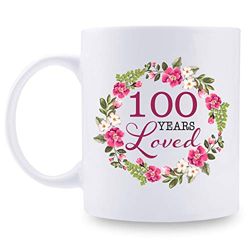 100th Birthday Gifts for Women - 100 Years Loved with A Garland Birthday Mug - 100 Year Old Present Ideas for Grandma, Mom, Daughter, Sister, Wife, Friend, Cousin, Aunt, Coworker - 11 oz Coffee Mug