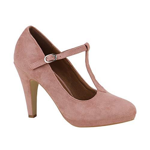 stiefelparadies Damen Pumps Mary Janes Veloursleder-Optik High Heels Blockabsatz Rosa T-Strap 38 Flandell