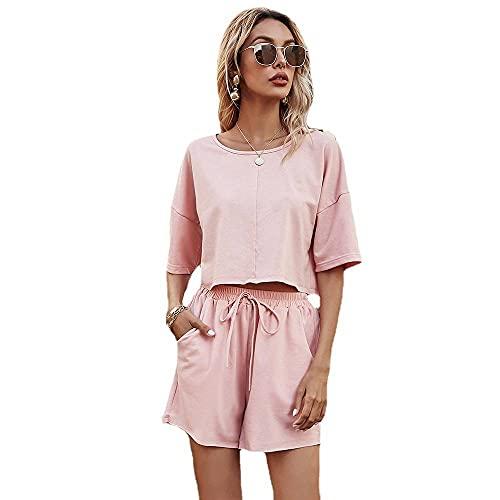 Conjunto de chándal para mujer, color sólido, suelto, casual, ropa de estar, ropa deportiva, traje de entrenamiento de 2 piezas