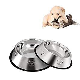 2 Stainless Steel Dog Bowls, Dog Feeding Bowls, Dog Plate Bowls With Non-slip Rubber Bases, Medium And Large Pet Feeder Bowls And Water Bowls