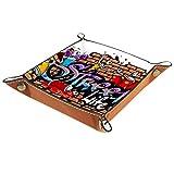 Serenasyoung Schreibtisch-Organizer, Nachttisch, Schmucktablett, Schminktablett, Graffiti-Word-01, Aufbewahrungs-Organizer, Kommode, Auffangschale für Münzschlüssel