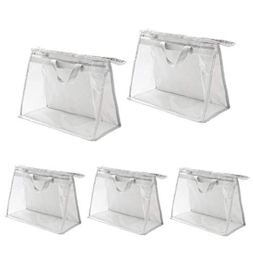 MICHAELA BLAKE Transparente Handtaschen Organizer PVC Kulturbeutel Aufbewahrungstasche mit Reißverschluss und Griff Anti-Staub Wasserdicht für Reisen Frauen 5 Stück