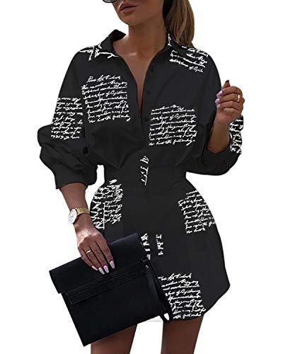 YOINS Kleider Damen Elegantes Blusenkleid Langarm Herbstkleid Shirtkleid Minikleid Sexy Kleid mit Buchstaben