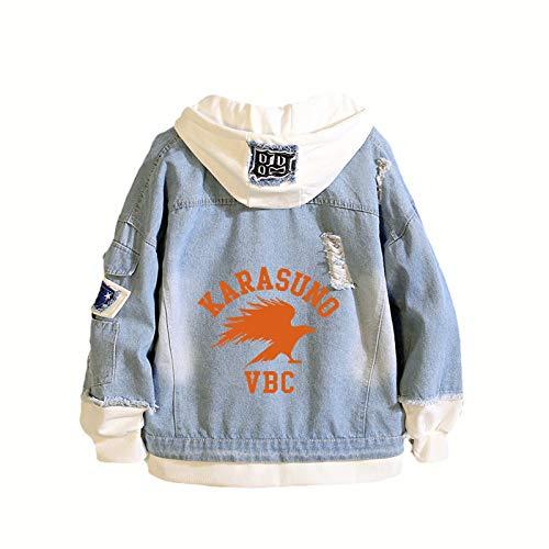 ZOSUO Haikyuu!! Denim Veste À Capuche Unisexe Cosplay Karasuno High School Pulls Sweat Anime Polaires Costume Homme Femme Mode Boutons Jeans Manteau Veste,3XL