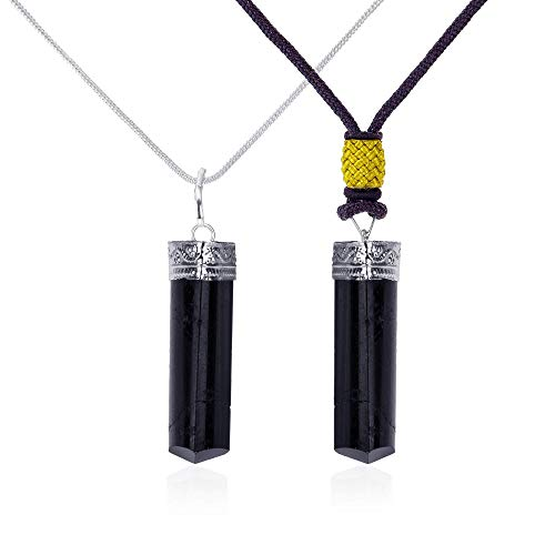 Black Tourmaline Pendant Crystal Healing Necklace for Him and Her (2pk)– Root Chakra Protection, Negative Energy Cleanser, Natural Stress Aid – Authentic Charm Stones on Silver Plated Chain and Cord