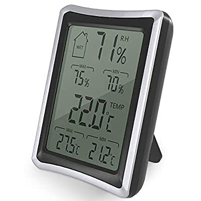 BENGOO Indoor Humidity Monitor Thermometer Digital Hygrometer Monitor with Stand and Large LCD Display Works in Celsius and Fahrenheit for Home Living Room Office - Black