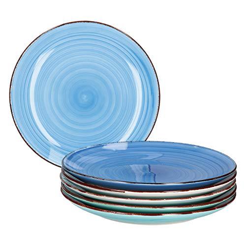MamboCat Blue Baita 6x Speise-Teller blau I robustes blaues Steingut-Geschirr für 6 Personen I 6-er Teller-Set mit modernem Strudel-Dekor in tollen Farbtönen I blaue Ess-Teller flach 6 Stück