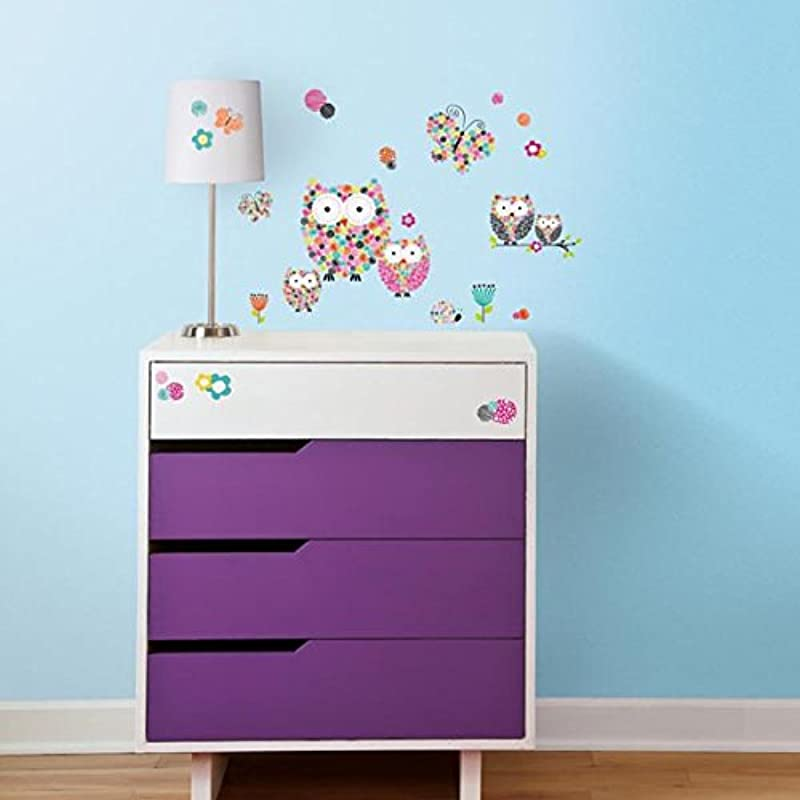 RoomMates Prisma Owls And Butterflies Peel And Stick Wall Decals