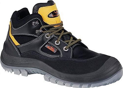 Sicherheitsschnürstiefel Vollrindleder, m.Überkapp, Schuhgröße : 48, Farbe : schwarz