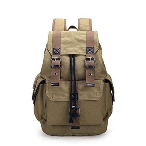 YNXing Multi-Function Vintage Canvas Hiking Travel Military Backpack Fashion Leisure Travel Backpack for…