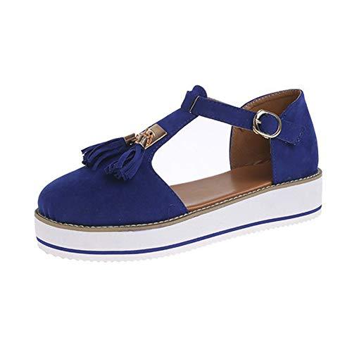 Sandalias con Plataforma Mujer Sandalias Mujer Plataforma Sandalias con flecos Tobillo Sandalias Casuales sin Cordones de Verano con Flecos Elegante Zapatos con Plataforma Zapatos de Cuña Cómodos