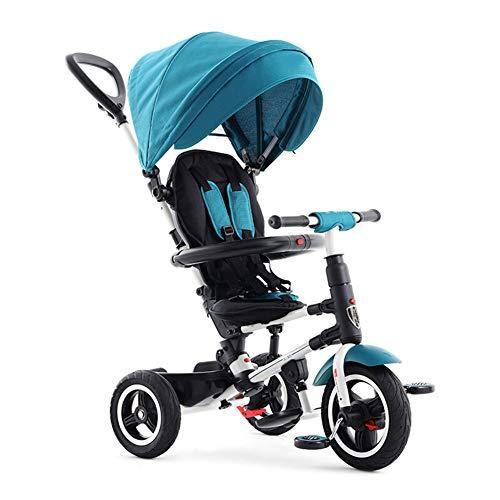 CHRISTMAD HAT Kinder Dreirad First Bike Kinderwagen 3 In1 Faltbar | Abnehmbare Schiebegriffstange | Markise | Kann Sitzen Und Liegen , 12-72 Monate,Green