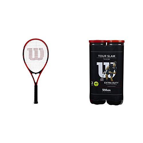 Wilson Tennisschläger, Federer, Unisex, Anfänger und Freizeitspieler, Griffstärke L3, Rot/Schwarz, WRT30480U3 & Tennisbälle Tour Slam für alle Beläge, gelb, 2 Dosen mit je 4 Bällen, WRT115302