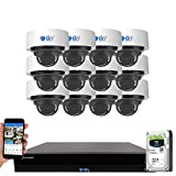 GW Security 16 Channel 4K NVR 8 Megapixel H.265 4K Security Camera System, 12 Built-in Microphone Audio Recording HD 2160P 4K IP PoE Dome Cameras, AI Intelligence Surveillance, Human Detection