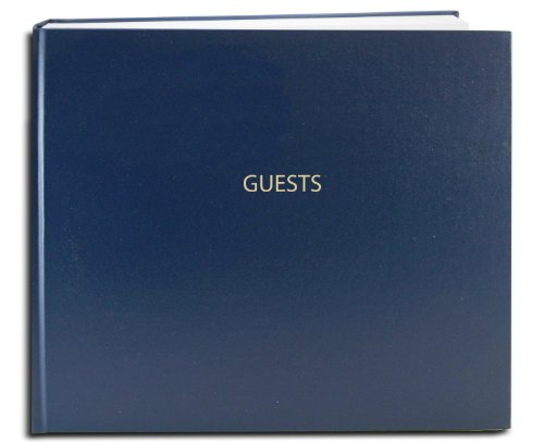 "BookFactory Guest Book (120 Pages) / Guest Sign-in Book/Guest Registry/Guestbook - Blue Cover, Smyth Sewn Hardbound, 8 7/8"" x 7"" (LOG-120-GUEST-A-LBT25)"