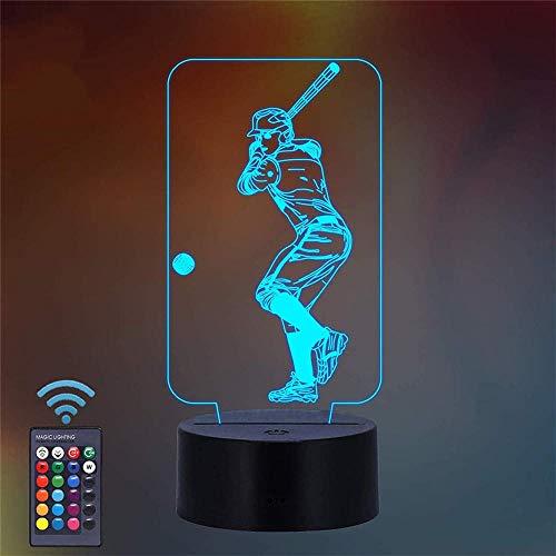 Luz de noche para niños Béisbol noche luz al lado de la lámpara de mesa Arylic Crystal RGB Cambiable LED Estado de ánimo lámpara para cumpleaños vacaciones un regalo