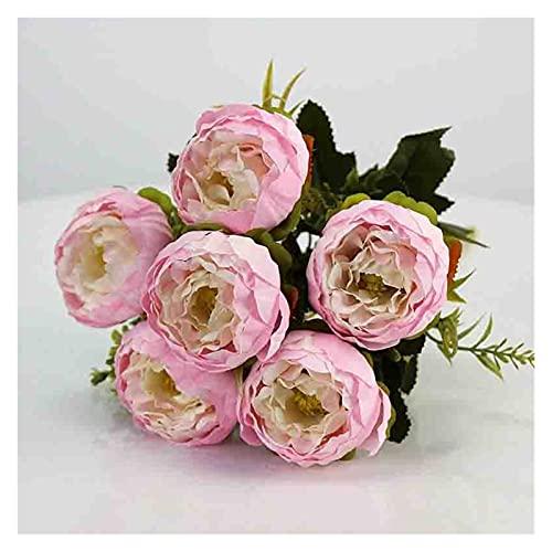 QWXZ Hochwertiger Blumenstrauß 6 Kopf/Blumenstrauß Peony Peony Künstliche Blume Seide Pfingstroy Bouquet Weiße Rosa Hochzeit Dekoration Gefälschte Pfingstrose Rose Schöne Dekoration und langlebig