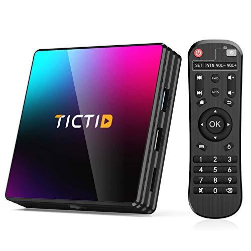 TICTID Android 10.0 TV Box T8 Pro【4G+64G】 RK3318 Quad-Core 64bit WiFi-Dual 5G/2.4G,BT 4.0, 4K*2K UDR H.265, USB 3.0 Smart TV Box