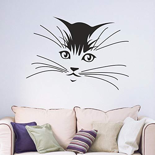 Hjnsxs Cat whiskers children bedroom living room teen family decals removable vinyl art wall stickers mural-50X70cm