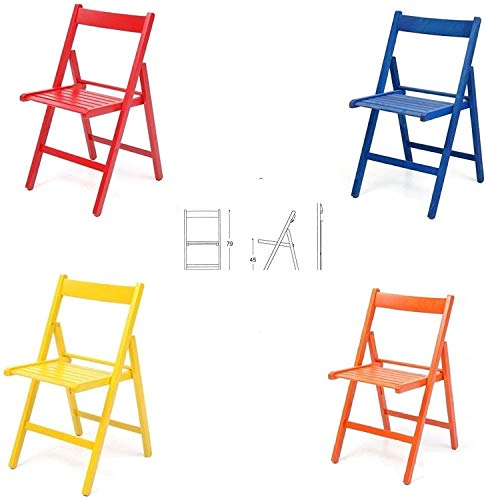 4 Bunte Klappstühle aus Klappstuhl aus lackiertem Holz für Camping, Haus und Garten Rot, Blau, Gelb, Orange