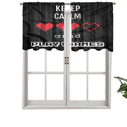 """Hiiiman Cenefas de cortina opacas con bolsillo para barra cortas, paneles de cortina con texto en inglés """"Keep Calm Play Games"""", juego de 2, 137 x 91 cm para cocina y baño"""